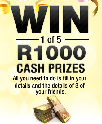 You could be 1 of 5 lucky winners this month to win R1000 cash!